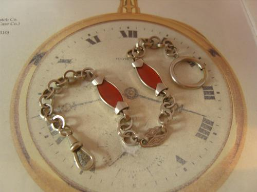 Antique Pocket Watch Chain 1890s Victorian Silver Chrome & Red Glass Fancy Albert (1 of 11)