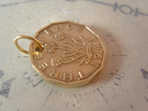 Vintage Pocket Watch Chain Fob 1944 WW2 King George VI Thepenny Bit Coin Fob (1 of 7)