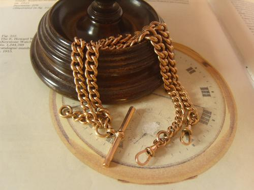 Antique Pocket Watch Chain 1890s Victorian 10ct Rose Gold Filled Large Albert with T Bar 50.9 Grams (1 of 12)