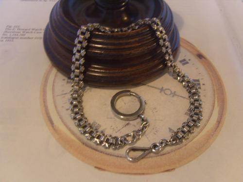 Antique Pocket Watch Chain 1890s Victorian Silver Nickel Vertebrae Link Albert (1 of 11)
