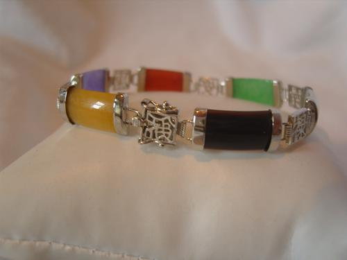 "Vintage Silver & Multi Coloured Jade Bracelet 1970s Attractive Clasp 7 1/2"" Length 12.7 Grams (1 of 12)"