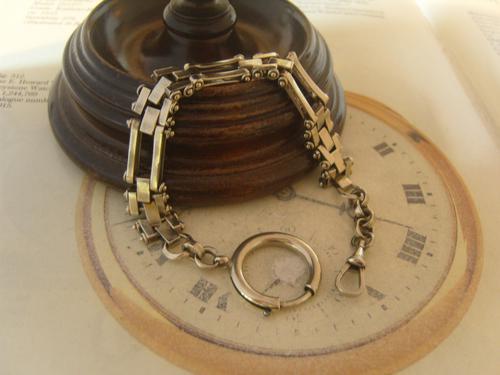 Antique Pocket Watch Chain 1890s Victorian Large Silver Nickel Motorbike Link Albert (1 of 12)