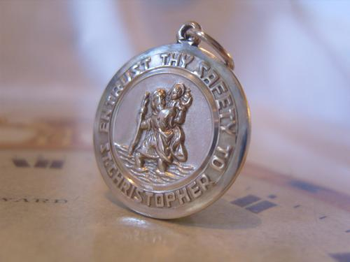Vintage Silver Pocket Watch Chain St Christopher Fob 1950s Large Fob or Charm (1 of 7)