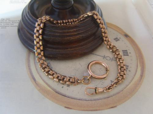 Antique Pocket Watch Chain 1890s Victorian French 14ct Rose Gold Filled Albert (1 of 11)