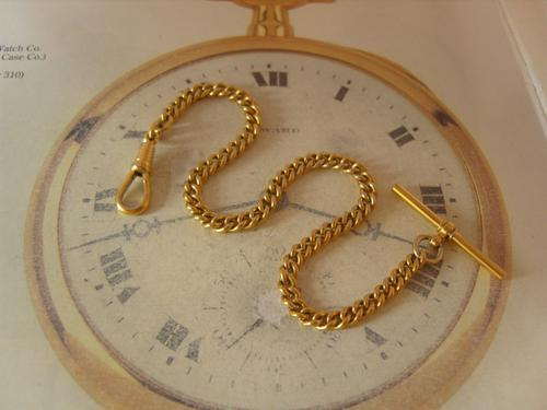 Vintage Pocket Watch Chain 1960s 10ct Gold Plated Curb Link Albert with T Bar (1 of 9)