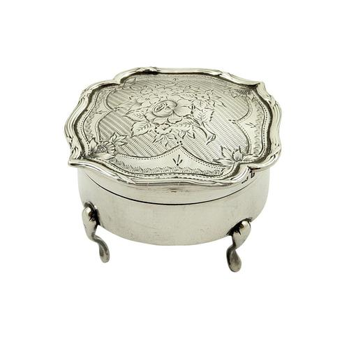 Antique Edwardian Sterling Silver Trinket Box with Flower Decoration (1 of 1)