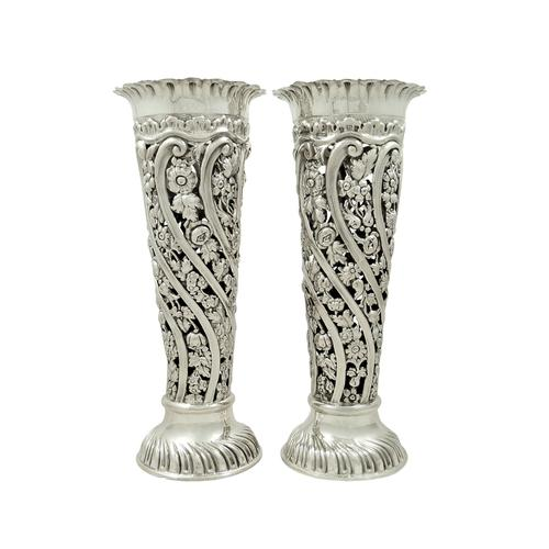 "Pair of Antique Edwardian Sterling Silver 9"" Spill Vases 1901 (1 of 1)"