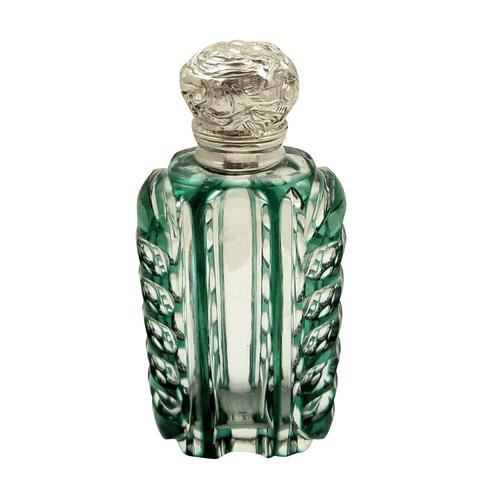 Antique Silver & Green Overlay Cut Glass Perfume / Scent Bottle c.1890 (1 of 8)