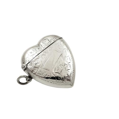Antique Edwardian Sterling Silver Heart Shape Vesta Case 1906 (1 of 9)