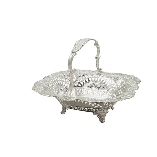 Antique Victorian Sterling Silver Basket 1894 (1 of 9)