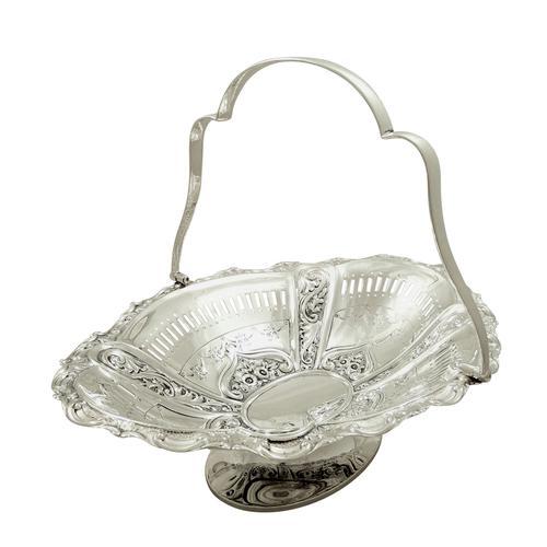"""Antique Edwardian Sterling Silver 11"""" Basket 1905 (1 of 10)"""