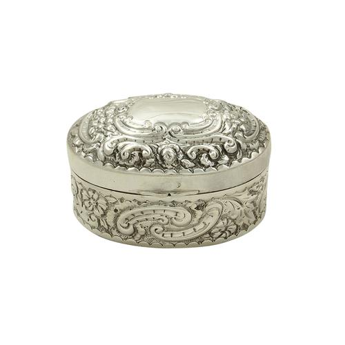 Antique Victorian Sterling Silver Oval Trinket Box 1893 (1 of 8)