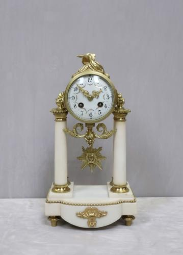 French Louis XVI Style White Marble Mantel Clock by Samuel Marti (1 of 7)