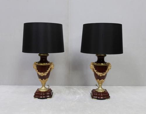 Pair of French Belle Époque Mahogany & Bronze Gilt Table Lamps (1 of 7)