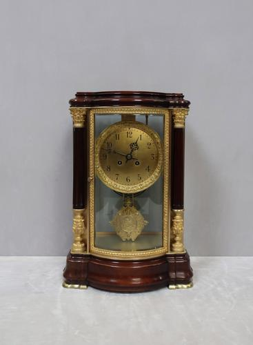 French Belle Epoque Mahogany Four Glass Mantel Clock by Japy Freres (1 of 8)