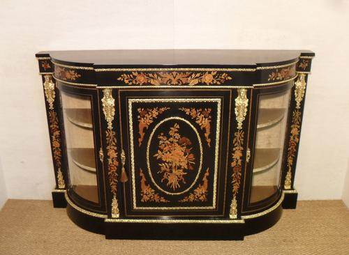 Victorian Ebonised & Marquetry Display Cabinet (1 of 8)