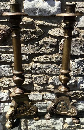 Pair of Large Bronze Candlesticks c.1880 (1 of 6)