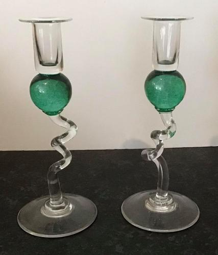 Pair of Vintage Green Glass Candlesticks (1 of 4)