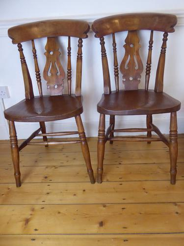 Set of 4 19th Century Kitchen Chairs (1 of 8)