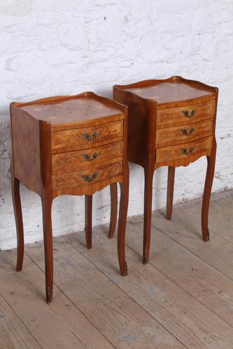 Very Pretty Pair of French Walnut Marquetry Bedsides (1 of 6)
