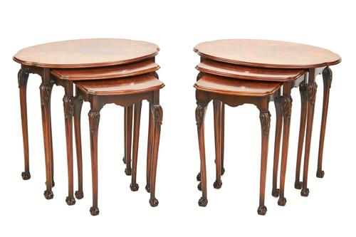 Pair of Burr Walnut Oval Nest 3 Tables c.1930 (1 of 5)
