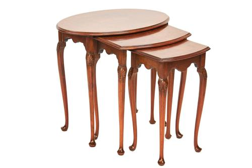 Burr Walnut Oval Nest 3 Tables c.1930 (1 of 3)