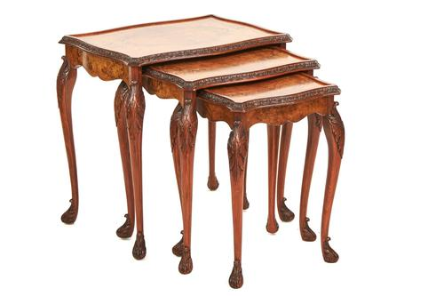 Burr Walnut & Carved Nest of 3 Tables c.1930 (1 of 6)
