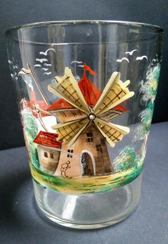 Large Painted Glass Tumbler c.1850 (1 of 5)