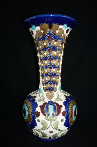 Large Burmantofts Faience Partie-Coloured Vase Designed by Joseph Walmsley (1 of 1)