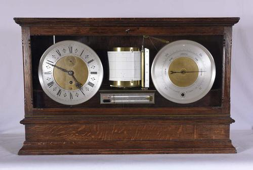 Negretti & Zambra Display Barograph, Clock & Barometer, England (1 of 1)