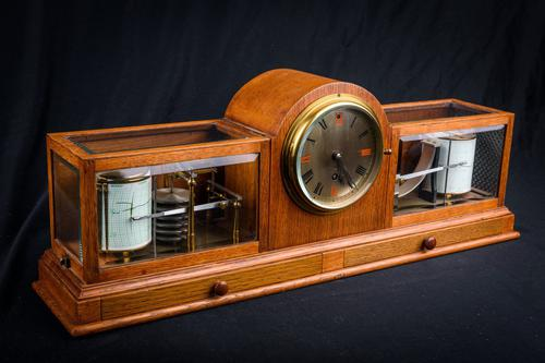 Fine & Rare Art Deco Style Barograph / Clock / Thermograph by Negretti & Zambra (1 of 7)