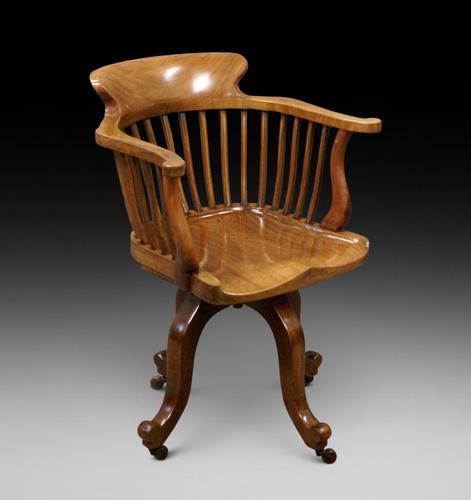Quality Walnut Revolving Desk Chair c.1880 (1 of 6)