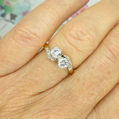 Vintage Art Deco 18ct Two Stone Diamond Moi Et Toi Engagement Ring c.1930 (1 of 9)