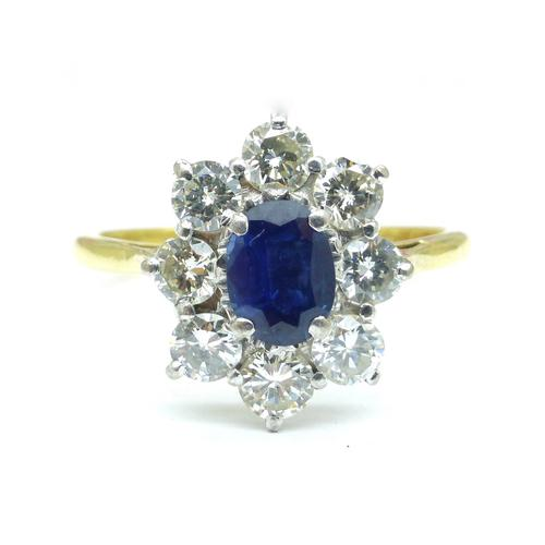 Vintage 18ct Sapphire & Diamond Oval Cluster Engagement Ring ~ with Independent Valuation (1 of 10)