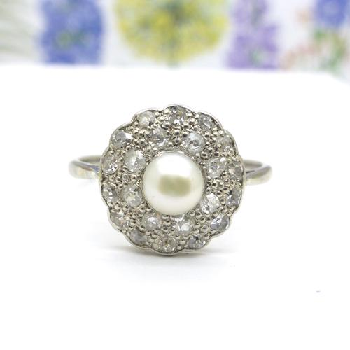 1920s Art Deco 18ct White Gold Platinum Old Cut Diamond & Pearl Cluster Ring (1 of 10)