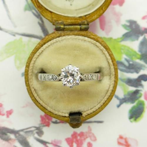 Art Deco 18ct White Gold & Platinum Old European Cut Diamond Solitaire Engagement Ring ~ with Independent Report (1 of 11)
