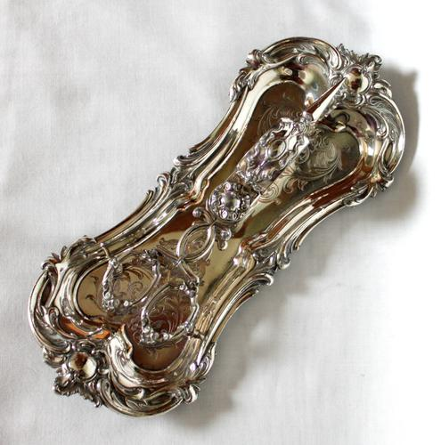 Old Sheffield Plate Snuffer Tray with Close Plated Snuffers (1 of 7)