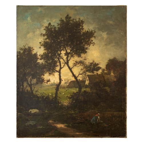 Jules-Louis Dusaussay, Barbizon School Landscape with Cottages, Chickens & Figure, 19th Century Oil Painting (1 of 12)