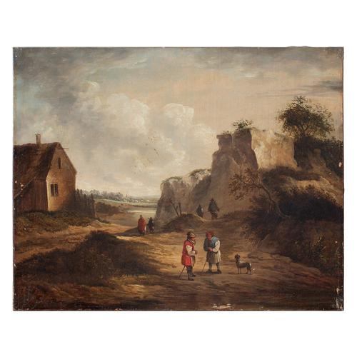 19th Century Dutch School Landscape with Villagers, Oil Painting (1 of 13)