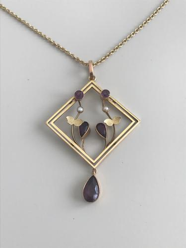 Art Nouveau 15ct Amethyst & Seed Pearl Necklace (1 of 5)