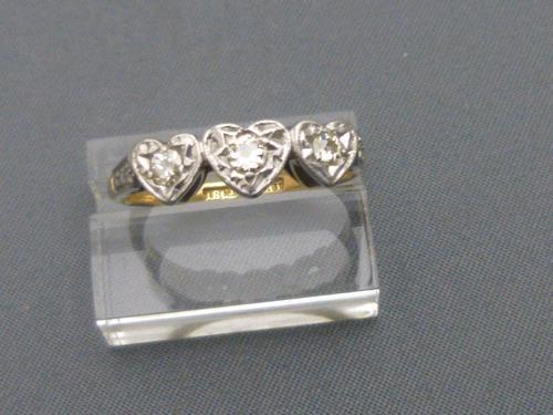 1930s 3 Stone Diamond Heart Ring (1 of 5)