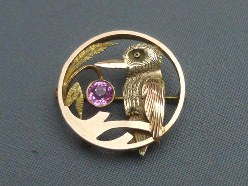 9ct 3 Colour Gold, Pink Tourmaline Set Kingfisher Brooch (1 of 5)