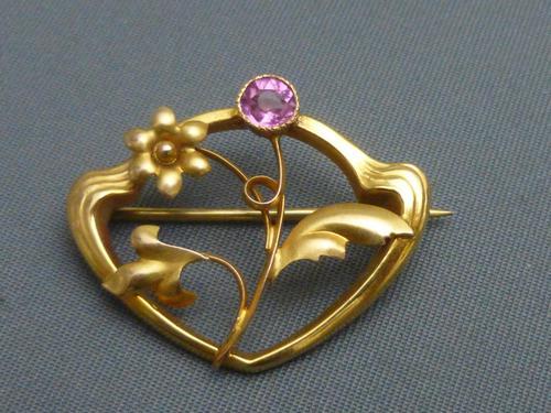 Art Nouveau 9ct Gold & Pink Tourmaline Brooch (1 of 5)