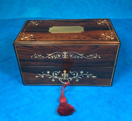 French Victorian Brass Inlaid Rosewood Ink Box (1 of 15)