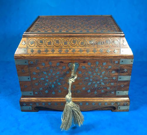 Indian Brass Inlaid Teak Box c.1920 (1 of 14)