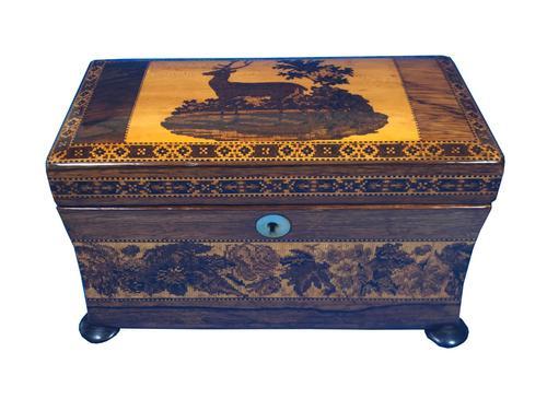 Victorian Rosewood Twin Tea Caddy with Tunbridge Ware Inlay (1 of 11)