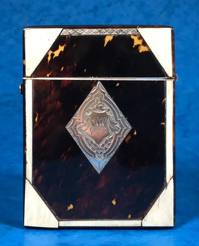 Victorian Tortoiseshell & Bone Card Case (1 of 13)