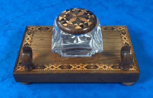 Victorian Pen & Ink Stand in Rosewood with Tunbridge Ware Inlay (1 of 15)