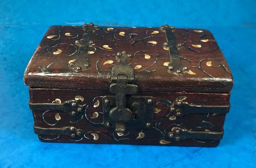 Unusual 17th Century Style Painted & Bound with Iron (1 of 16)