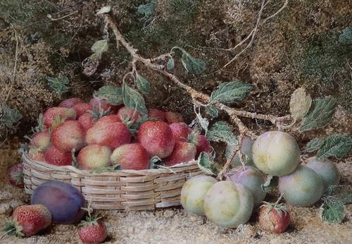 William Hough Watercolour 'Still-Life of Strawberries and Plums' (1 of 2)